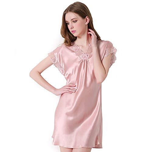 Women's 100% Silk Pyjamas V Neck Trimmed, Kimono Robe Pajama Dress Bathrobe,C,M ()