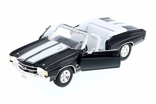 1971 Chevy Chevelle SS454 Convertible, Black w/ White - Welly 22089WBK - 1/24 Scale Diecast Model Toy Car (Chevrolet Chevelle Convertible)