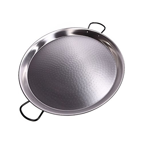 Polished Steel Valencian paella pan. 28Inch / 70cm / 30 Servings