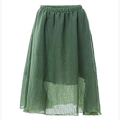 Falda elástica de Mujer Falda de una línea de Falda Larga Plisada ...