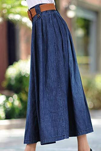 Darkblue1 Jean Yacun en Femmes lastique Longue des Jupe Taille Jupes Occasionnels wqfqI61x