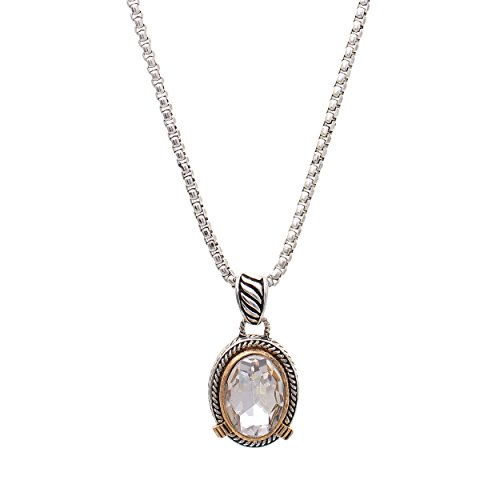 Silver Tone Oval Pendant (Rosemarie Collections Women's Oval Crystal Pendant Necklace (Silver Tone))