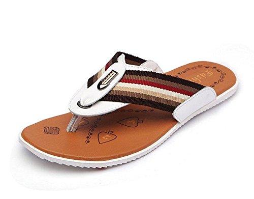 GLTER Hombres Flip Flops Verano Nueva Sandalias Zapatos Casual Zapatillas transpirables de cuero Beach Pool Shoes White