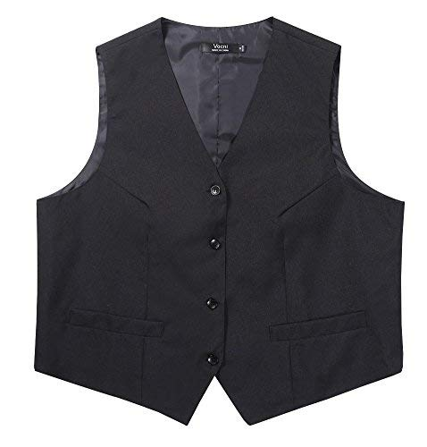 Vocni Women V-Neck Fully Lined Economy Dressy Suit Vest Server Waistcoat,Black/Thin,US XL (Fit Bust 42.9