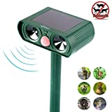 ZOVENCHI Ultrasonic Animal Repeller, Solar Powered Repellent with Motion Sensor Ultrasonic and Red