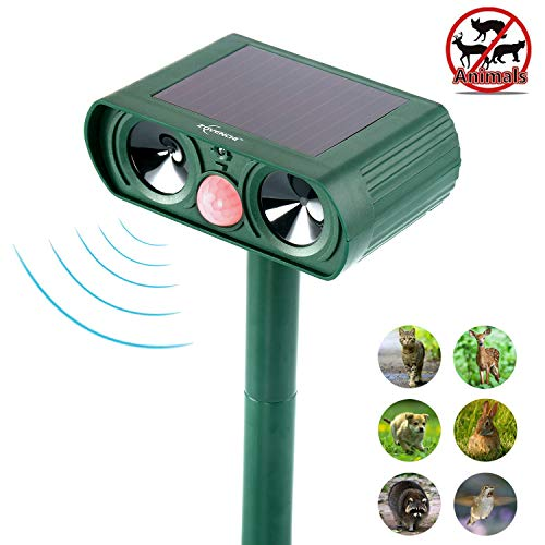 Cat Outdoor Repellent (ZOVENCHI Ultrasonic Animal Repeller, Solar Powered Repellent with Motion Sensor Ultrasonic and Red Flashing Lights Outdoor Waterproof Farm Garden Yard Repellent, Cats, Dogs, Foxes, Birds, Skunks, Rod)