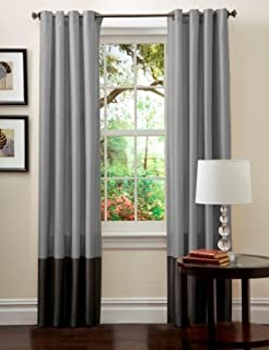 Lush Decor Prima Window Curtain Panel Pair, 84 inch x 54 inch, Silver/Black, Set of 2 (B0044R8IQ8) | Amazon price tracker / tracking, Amazon price history charts, Amazon price watches, Amazon price drop alerts