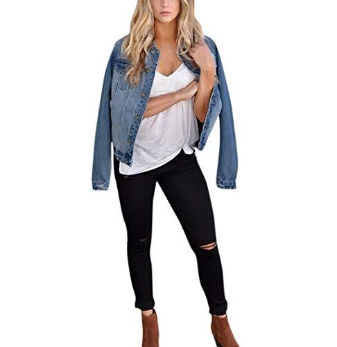DaoAG-Summer Clothes Women Boyfriend Denim Jacket Long Sleeve Button Down Denim Cardigan with Chest Flap Pocket Slim Fit Jean Jacket