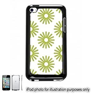 Lime Green Sun Bursts Pattern Apple iPod 4 Touch Hard Case Cover Shell Black 4th Generation
