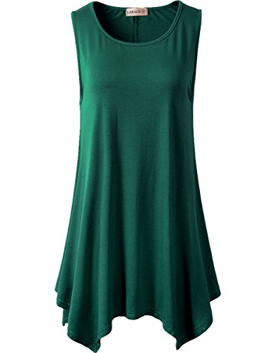 LARACE Lanmo Women Plus Size Solid Flowy Tank Top Summer Sleeveless Tunic(M, Deep Green)