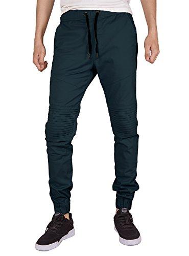 Weekend Chino Pants - ITALY MORN Men Chino Jogger Casual Pants Biker Jogging Twill Khakis Slim Fit (M, Dark Blue)