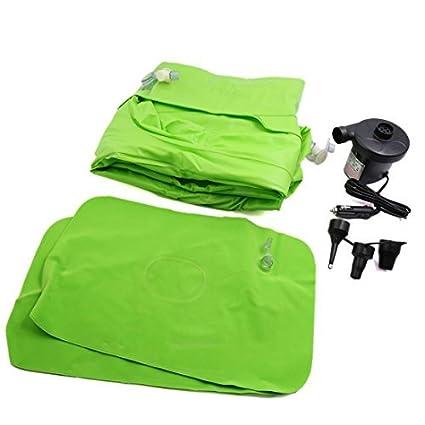 eDealMax Verde Flocado de aire inflable colchón de la cama de coche cama que se reclina