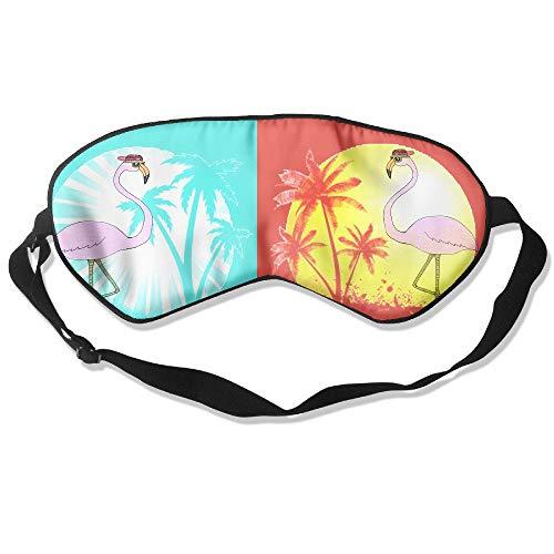 Price comparison product image QQMIMIG Sleeping Eye Mask Pink Flamingo Enjoy Sunset Beach Plam Tree Natural Silk Eye Mask Cover with Adjustable Strap