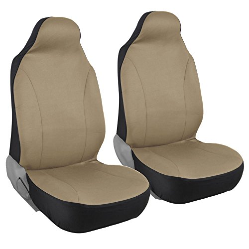 Front Pair of Bucket Seat Covers for Car - Rome Polyester Cloth Solid Beige
