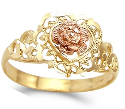 Heart Flower Ring 14k Rose Yellow Gold Band, Size 8