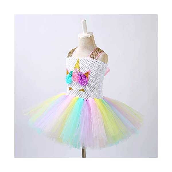 Unicorn Costume for Girls Dress Up Clothes for Little Girls Rainbow Unicorn Tutu with Headband Birthday Gift 4
