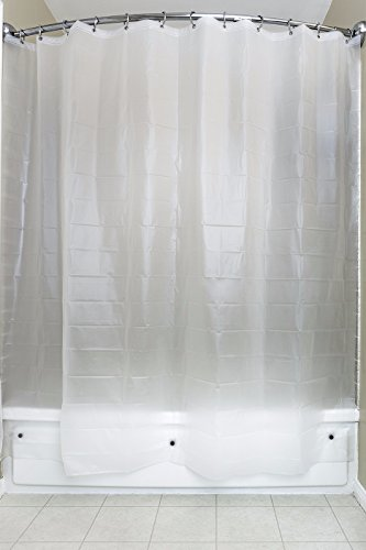 Shower Curtain Liner, PEVA, Eco Friendly, Family Safe, PVC Free, BPA Free, Phthalate & Chloride Free, No Chemical Odor, Anti-Mold, Frost, 3 Gauge, Extra Magnets, Rust Free Grommets, 72 x 72, 12 Hooks (Safe Shower)