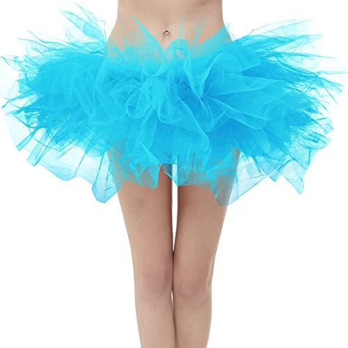 Dresstore Women's Vintage 5 Layered Tulle Tutu Puffy Ballet Bubble Skirt Blue Regular Size]()