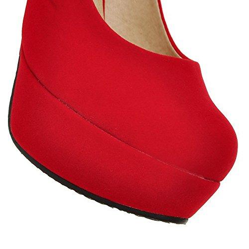 AllhqFashion Mujer Puntera Cerrada Tacón Alto Sólido Sin cordones Esmerilado Puntera Redonda De salón Rojo