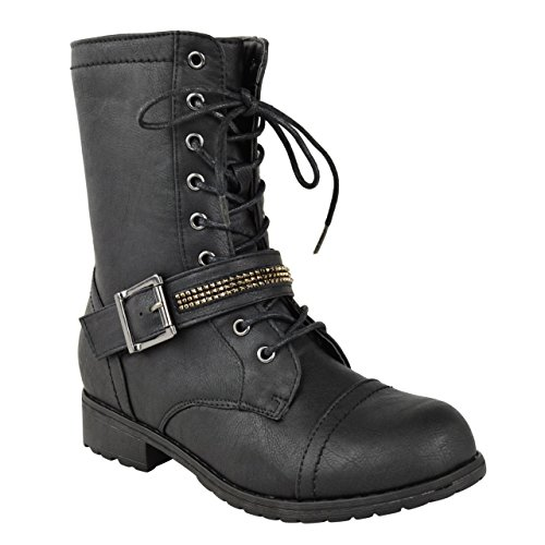 NEW LADIES WOMENS FLAT LOW HEEL LACE UP ARMY MILITARY BIKER ZIP ANKLE BOOTS SIZE Black Faux Leather