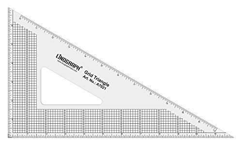Linograph 60degree Transparent Grid Triangle Ruler Designing Pattern Making Scale