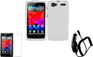 For Motorola Yangtze Electrify 2 XT881 XT885 XT886 XT889 MT887 Hard Cover Case White+LCD Screen Protector+Car Charger