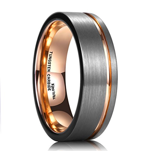 King Will Tungsten Carbide Wedding Ring 7mm Rose Gold Line Flat Pipe Cut Brushed Polished 8.5 by King Will