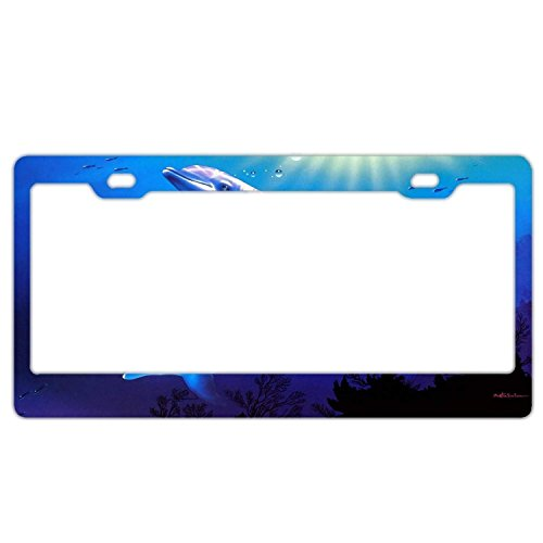 YEX Abstract Dolphins Galaxy License Plate Frame Car Tag Frame Auto License Plate Holder 12