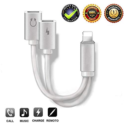 for iPhone Dongle Lightning Headphone Adapter Cable Converter for iPhone 7/7s/8/8Plus/X/XS.Jack Adaptor Female Audio Lightning Cable Converter Music & Charger & Volume Control & Call Support for iOS12 (Best Lightning Headphone Adapter)