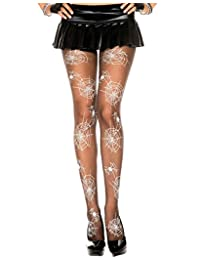 Sheer Pantyhose With Spider And Web Print, Costume Hosiery