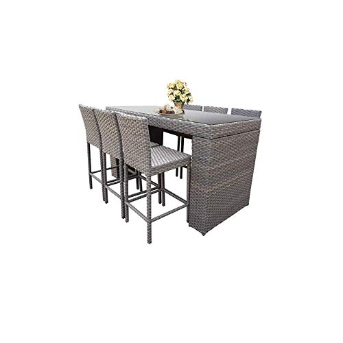 TK Classics BARTABLE-Backless-6 Monterey Bar Furniture Dining Set, Grey Stone