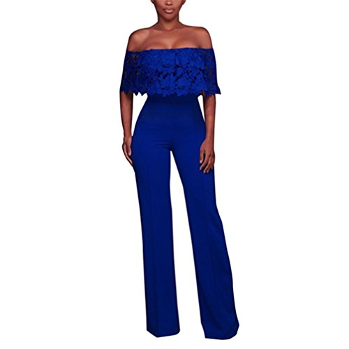 Dinner Womens Light - WuyiMC Womens Sexy Off Shoulder High Waisted Long Wide Leg Jumpsuits Rompers with Reffle 4 Colors (S, Blue)