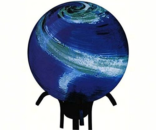 Mystic Gazing Ball - Blue Swirl Glow in the Dark Glass Gazing Globe (10