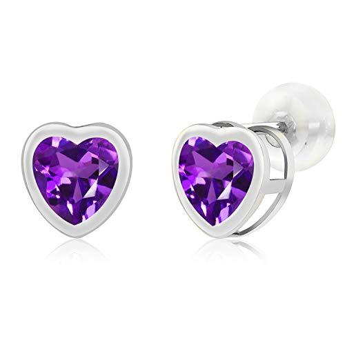 Gem Stone King 1.60 Ct Heart Shape 6mm Purple Amethyst 10K White Gold Stud Earrings
