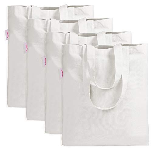 4 Pieces Crafting Bag for Decorating Grocery Canvas Bag White ...