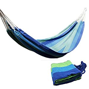 Ludwing Rhyser Canvas Hammock Cotton Fabric Travel Camping Hammock One Person(Blue)
