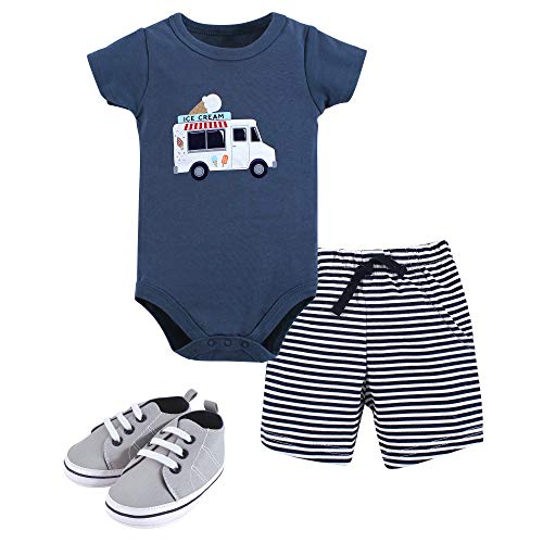 Hudson Baby Unisex Baby Bodysuit, Bottoms and Shoes, Ice Cream 3-Piece Set, 12-18 Months (18M)