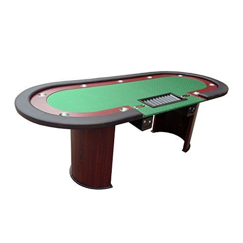 "IDS Professional Solid Wood Poker Table 10 Players Dining Top with ONE Steel Toke Drop Box - Best Poker Table - 96"" x 43"" x 30"" inch Oval -Green (Player Solid Wood Poker Table)"