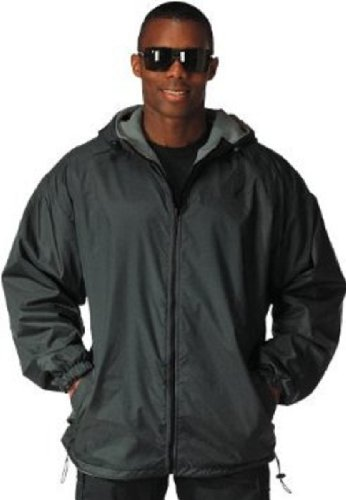 (Rothco Reversible Fleece Lined Nylon Jacket with Hood, Black, X-Large)
