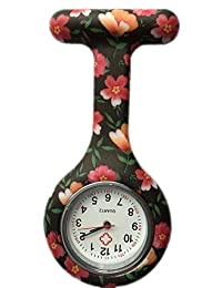 Boolavard® TM Nurses Fashion Coloured Patterned Silicone Rubber Fob Watches - Black + Orange
