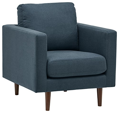 "Rivet Revolve Mid-Century Modern Accent Arm Chair, 32.7""W, Denim"