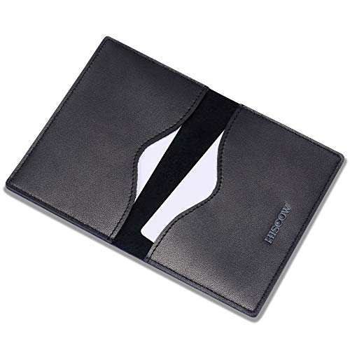 Leather Holder Case Card Business (HISCOW Minimalist Thin Bifold Card Holder - Italian Calfskin)