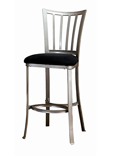 [Hillsdale Delray 30-Inch Non-Swivel Barstool, Pewter Finish with Black Faux-Suede Upholstrey] (Bar Stool 6 Finishes)