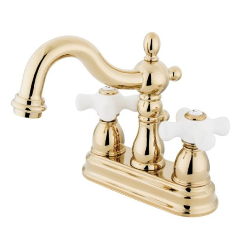 Kingston Brass KB1602PX Heritage 4-Inch Centerset Lavatory Faucet with Porcelain Cross Handle, Polished ()
