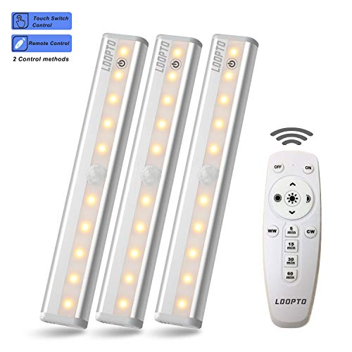 Wireless Remote Control Led Under Cabinet Lighting [3 Packs], LDOPTO 10 LED Cupboard Light Bar, Closet Lights with Stick-on Magnetic Strip/Brightness Adjustment/Time Control, -