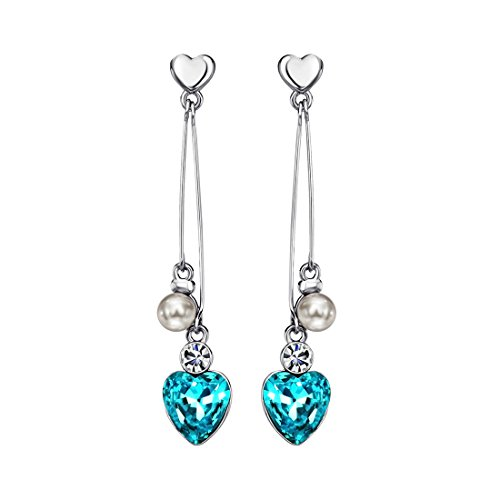 Crystal Drop Post Earrings - Neoglory Blue Heart Crystal Drop Pearl Earrings Rhinestone Platinum Plated Bridal Jewelry embellished with Crystals from Swarovski