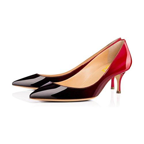 - FSJ Women Classic Kitten Heels Pointy Toe Pumps Office Ladies Dress Shoes Size 7 Red-Black