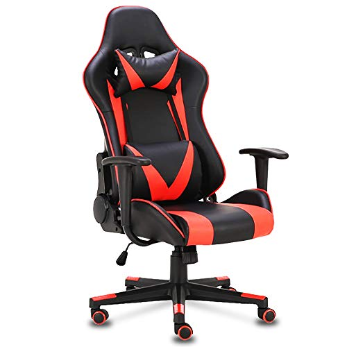 Truker Executive Office Swivel Chair Ergonomic High-Back Adjustment Leather Computer Desk Chair with Headrest and Lumbar Support Gaming Racing Chairs(Red) (Red Leather Chairs Best Price)