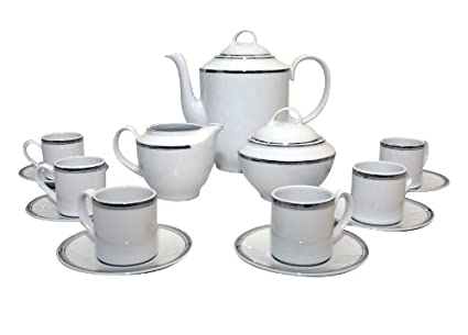 Santa Clara Aloia Filos Platino - Juego de café 6 servicios, 15 piezas