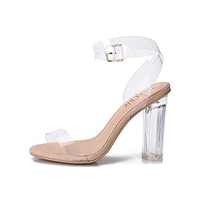 35-43 Code 2017 de nouveaux modèles d'explosion du commerce européen et américain PVC transparent d'épaisseur avec des sandales à talons hauts de grands chantiers ( Color : Clear , Taille :